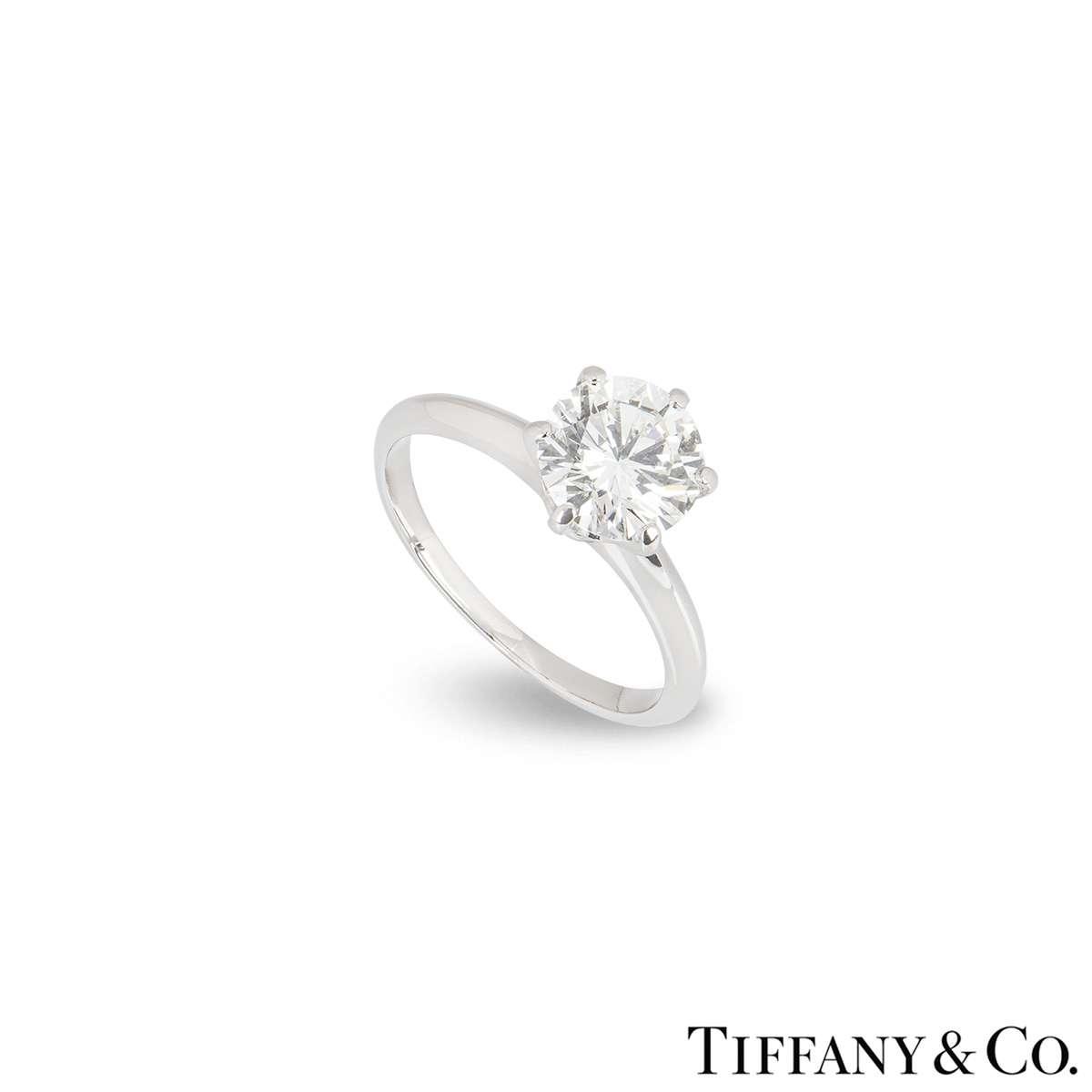 Tiffany & Co. Platinum Diamond Setting Ring 1.69ct I/VVS2
